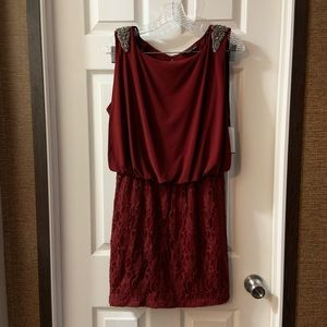 NWT City Triangles Burgundy Lace Skirt Dress 13